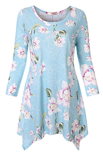 Tanst Womens Casual Floral Print 3/4 Sleeve Shirt Asymmetrical Hem Tunic Top
