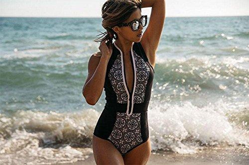 traje de baño blanco y negro, impresión retro pieza de la cremallera del bikini Black
