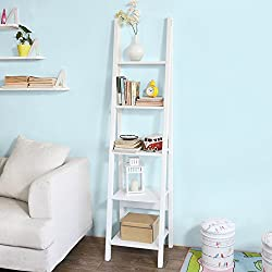 Haotian White Modern 5 Tiers Ladder Shelf, Storage Display Shelving Wall Shelf Bookcase, 44x39x180cm, FRG101-W