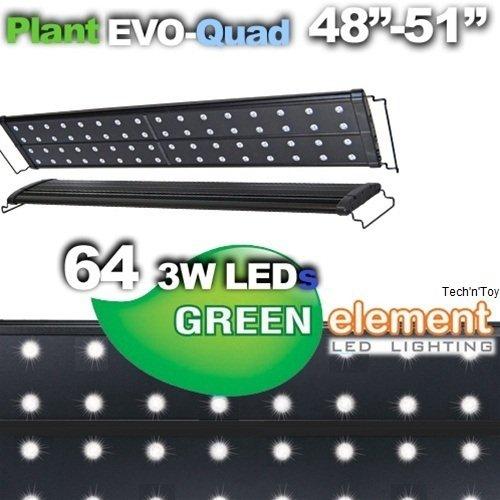 Green Element EVO Quad 48''-52'' LED Aquarium Light Fixture - Plant 64x3W