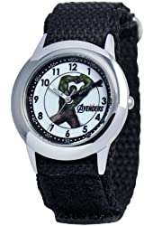 Marvel Kids' W000305 Marvel Avenger Kid's Stainless Steel Time Teacher Black Velcro Strap Watch