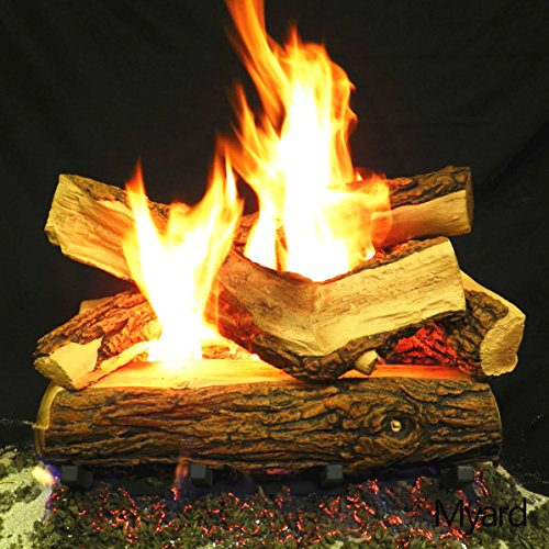 Myard 18'' inches Country SPLIT Fire Gas Logs (LOGS ONLY) for Natural Gas / Liquid Propane Vented Fireplace by PayandPack