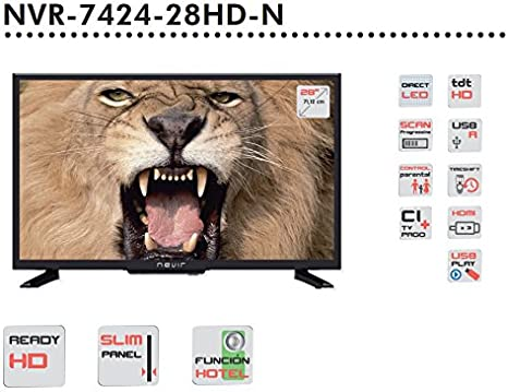Nevir NVR-7424-28HD-N - TV LED HD Ready de 28 pulgadas (71.12 cm), 1366 x 768 pixeles, 180 cd/m2, Negro: Nevir: Amazon.es: Electrónica