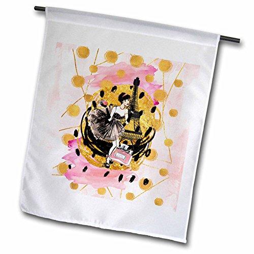 3dRose Uta Naumann Watercolor Illustration - Paris Eiffel Tower and Elegant Shopping Girl With Gold Glitter - 18 x 27 inch Garden Flag - Water Shopping Tower