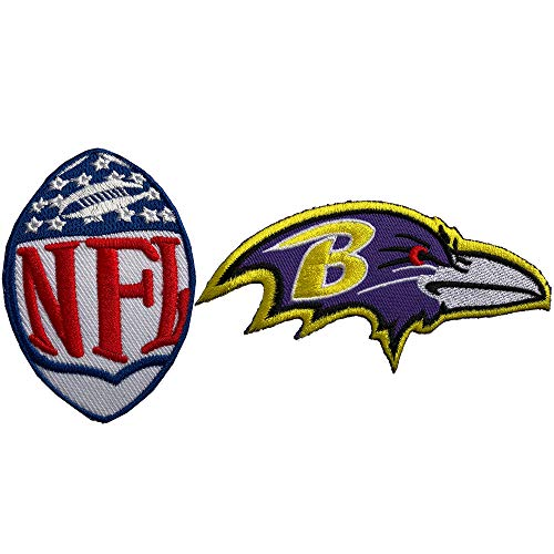 Hipatch Baltimore Ravens Embroidered Patch Iron on Logo Vest Jacket Cap Hoodie Backpack Patch Iron On/sew on Patch Set of ()