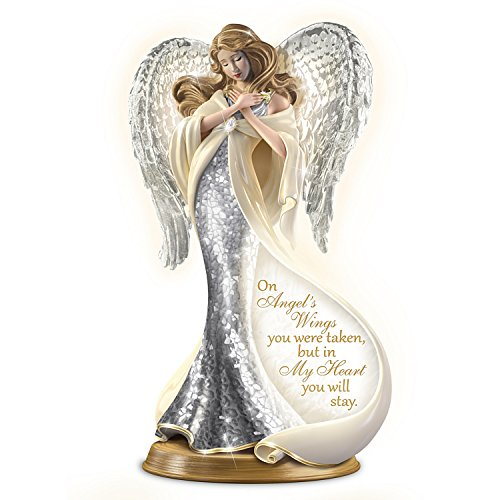 The Bradford Exchange Bereavement Heirloom Porcelain Mosaic Angel Sculpture with 22K Gold Lights Up