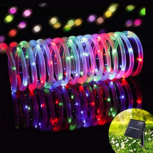 - Outdoor Solar String Lights 33ft 100 LED Copper Wire Rope Starry Ambiance Lighting for Patio Gardens Homes Party Holiday Wedding Christmas Decoration (Multicolor)