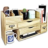 wood desktop organizer Ikee Design Large Adjustable Wooden Desktop Organizer For Office Supplies Storage Shelf Rack - Book Shelf, Stationary Compartment Holder, Mail Holder, And Desk Accessory Storage. Space Saver All In One Organizer.