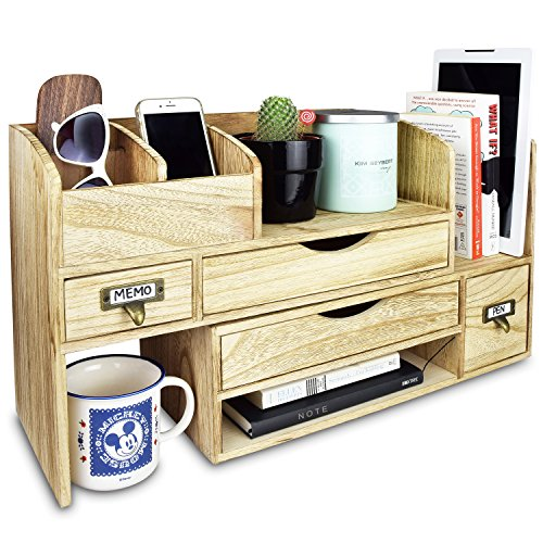 Organizer Desktop Wood Multi Purpose (Ikee Design Large Adjustable Wooden Desktop Organizer For Office Supplies Storage Shelf Rack - Book Shelf, Stationary Compartment Holder, Mail Holder, And Desk Accessory Storage. Space Saver All In One Organizer.)