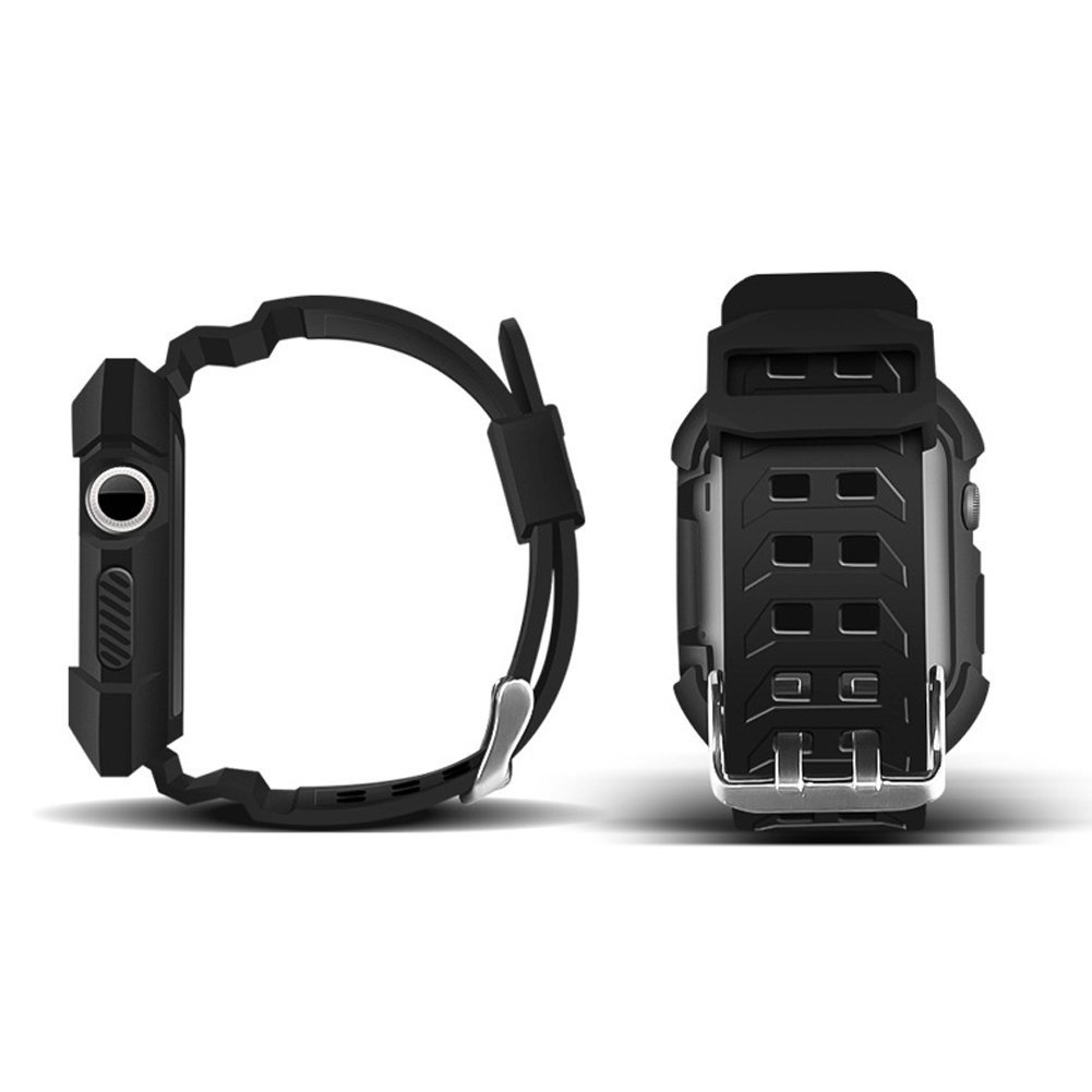 Apple Watch Silicon Band, NatoGears 42mm iWatch Bands with Protective Case Shockproof Rubber Replacement Strap with Metal Buckle Clasp for Apple Watch Series 3 / 2 / 1, Sport Edition, Men (Black)