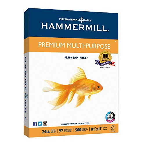 Hammermill Paper, Premium Multi-Purpose Paper Poly Wrap, 24lb, 8.5 x 11, Letter, 97 Bright, 500 Sheets / 1 Ream (105810) Made In The USA Premium Bright White Inkjet Paper