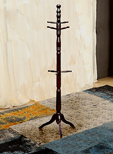 Simple Cherry Hall Tree (Creation Yusheng Coat Rack Hanger Solid Wood Hall Tree Home Decor with 9 Hooks for Jackets Scarves Stand, Tripod Base (Cherry))