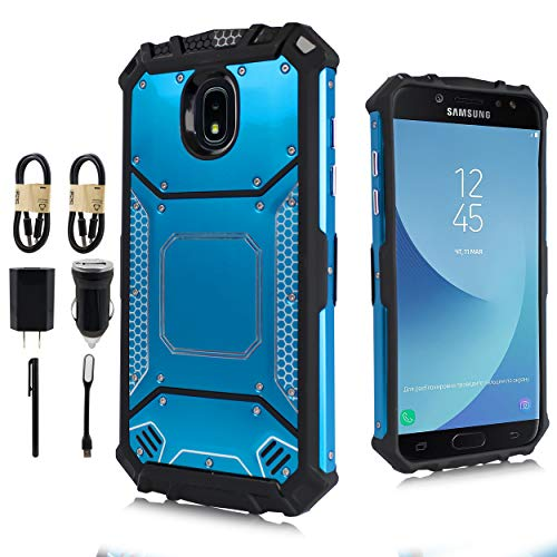 Armor Mag Case (Samsung Galaxy J3 2018, J3V J3 V 3rd Gen,Express Prime 3, J3 Star, J3 Achieve, Amp Prime 3 Case, Feather Light Aluminum Metal Rugged Cover, Composite Case [Value Bundle] (Blue))