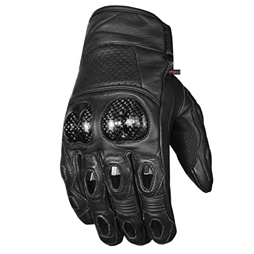 Gloves Motorcycle Fiber Carbon (Men's Premium Leather Motorcycle Cruising Street Palm Sliders Biker Gloves L)
