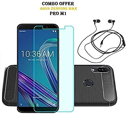 asus zenfone max pro m1 cover  RidivishN Combo of Back Cover Case + Tempered Glass:  ...