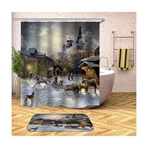 AMDXD Bath Curtain Funny House Carriage Town Shower Curtain Colorful Bath Curtains90x180CM with Bath Mat 40x60cm