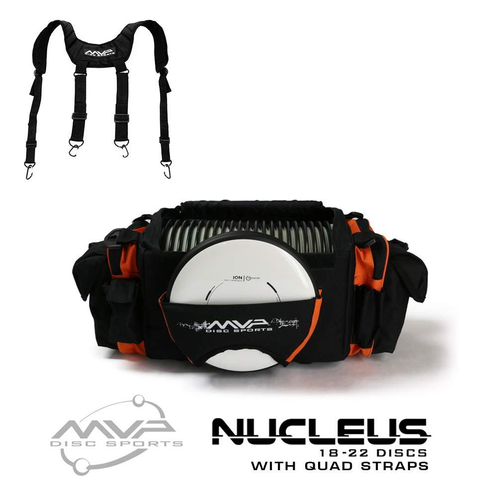 MVP Disc Sports Nucleus Tournament Disc Golf Bag with Quad Straps - Orange