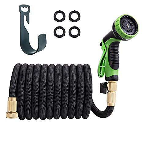 TaoTronics Garden Hose 50ft Expandable Water Hose Flexible, Include 10 Function Spray Nozzle - with Double Latex Core, 3/4 Solid Brass Fittings