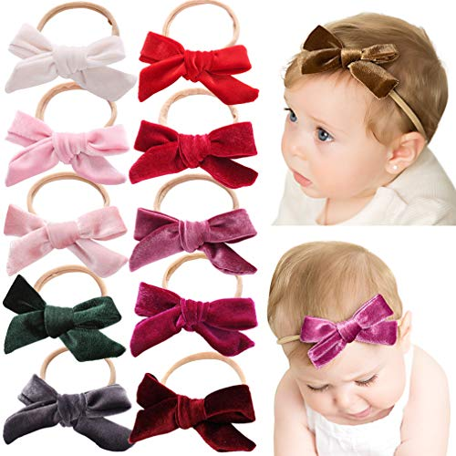 Baby Girl Headbands Newborn Infant Toddler Knotted Hairbands Bows Elastic Soft Floral Hair Band (FREE, Nylon Headbands 10pcs) -