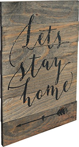 - Rustic BARN Wood Pallet Sign - Lets Stay Home Quote with Fun Arrow Heart Graphic Pointing Back - Size 14x 18 Rustic Distressed Signs Handmade with Real Wood That Will Look Perfect on Your Family Wall