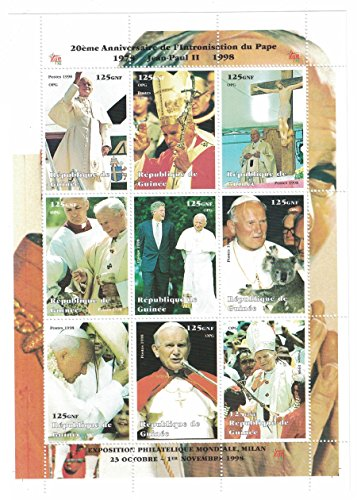stamps-for-collectors-perforated-stamp-sheet-featuring-the-pope-jean-paul-ii-bill-clinton-religion-g