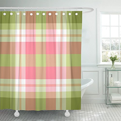 Breezat Shower Curtain Colorful Check Pink and Green Trendy Plaid Pattern Stripe Waterproof Polyester Fabric 72 x 78 Inches Set with Hooks