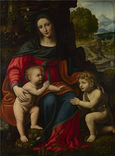 The High Quality Polyster Canvas Of Oil Painting 'Bernardino Luini - The Virgin And Child With Saint John, Late 1510s' ,size: 30x41 Inch / 76x103 Cm ,this High Resolution Art (Kc Jones Costume)