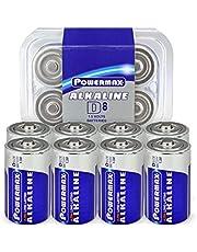 Powermax 8-Count D Cell Batteries, Ultra Long Lasting Alkaline Battery, 7-Year Shelf Life, Recloseable Packaging