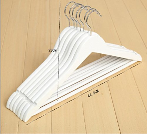 WWZY Wooden 44.5cm Non Slip Trouser Hangers Pack of 20 White clothing store Hanger , white , 44cm by WWZY