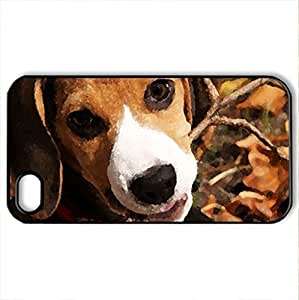 Beagle Puppy - Case Cover for iPhone 4 and 4s (Dogs Series, Watercolor style, Black)