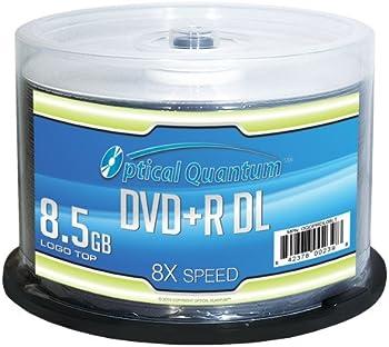 50-Pack Optical Quantum OQDPRDL08LT 8.5GB DVD+R DVD Spindle
