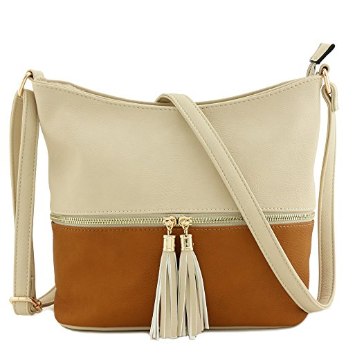 Colorblock Tassel Zipper Bucket Crossbody Bag Nude/Cognac ()