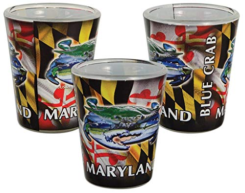 Maryland State Blue Crab Full Wrap Souvenir Shot Glass