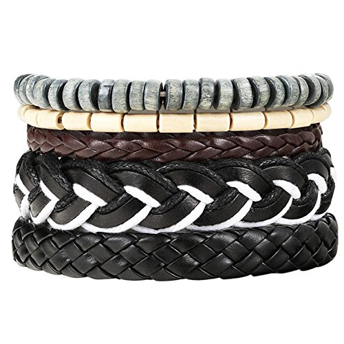 Bead Leather Bracelets Bangles Women 3/4 pcs 1 Set Multilayer WristbBracelet Men Pulseiras ()