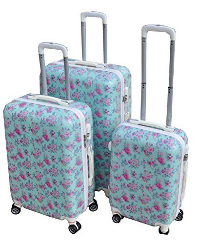 VINTAGE AQUA ROSE BLUE & PINK LARGE 28 SUITCASE LUGGAGE CASE HARD ...