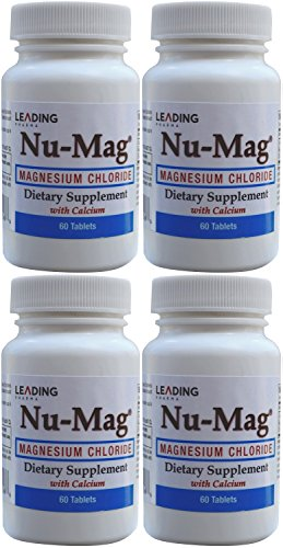 Magnesium Chloride Dietary Supplement - Nu-Mag Magnesium Chloride with Calcium Enteric Coated 60 Tablets per Bottle PACK of 4
