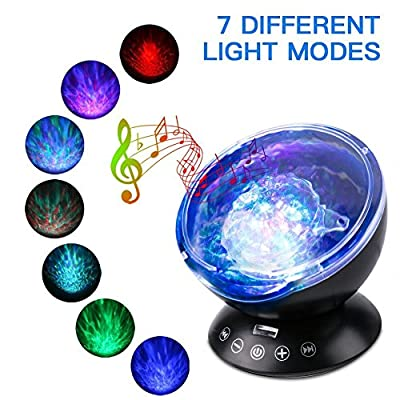 Ocean Wave Night Light, Elecstars-Music Player Multicolor Led bulbs Projection Lamp, Romance and Relax soothing Effect, Bedroom Room Night Light, Best Gift for Kids girl Children Sleeping Aid from Elecstars