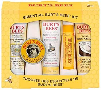 Essential Burt's Bees Kit Gift Set, 5 Travel Size Products - Deep Cleansing Cream, Hand Salve, Body Lotion, Foot Cream and Lip Balm