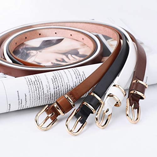 JASGOOD Women's Skinny PU Leather Belt Solid Color Fashion Thin Waist Belt with Gold Buckle for Jeans Pants 1/2 Width