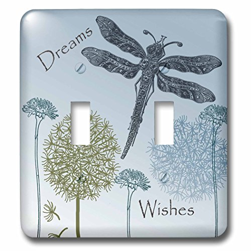 Wish Light Switch Covers (3dRose LLC lsp_79324_2 Dreams and Wishes Dandelions and Dragonflies Double Toggle Switch)