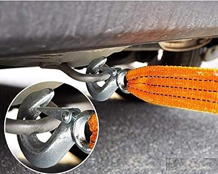 5 Tonnellate Cinghia per Fuoristrada per Soccorso Stradale e Trasporto di Veicoli Arancione Cinghia Corda di Traino con Ganci Cinghia da Traino Resistente Space Home