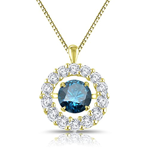 Diamond Wish 14k Yellow Gold Dancing Blue Diamond In Rhythm Circle Halo Pendant Necklace (1 cttw, Blue) with 18