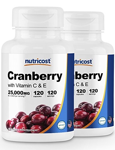 Nutricost Cranberry Extract (25,000mg) (120 Caps) (2 Bottles)