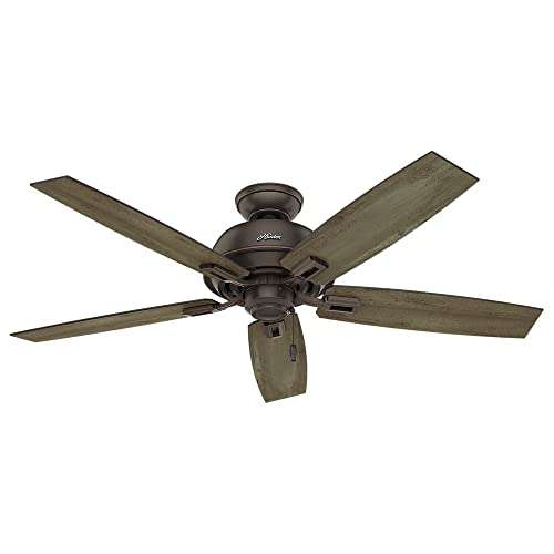 Hunter Indoor Outdoor Ceiling Fan, with pull chain control – Donegan 52 inch, Onyx Bengal, 54167