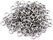 200Pcs Stainless Steel Fishing Solid Snap Split Ring Lure Tackle Connector Double Loop Split Rings Kits