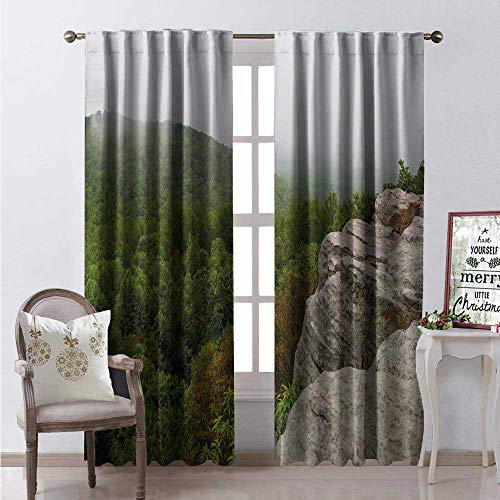 Hengshu Appalachian Trail Room Darkening Wide Curtains Crescent Rock Looks Over Shenandoah Foggy Mountain Forest Decor Curtains by W96 x L96 Dark Eggshell Olive Green