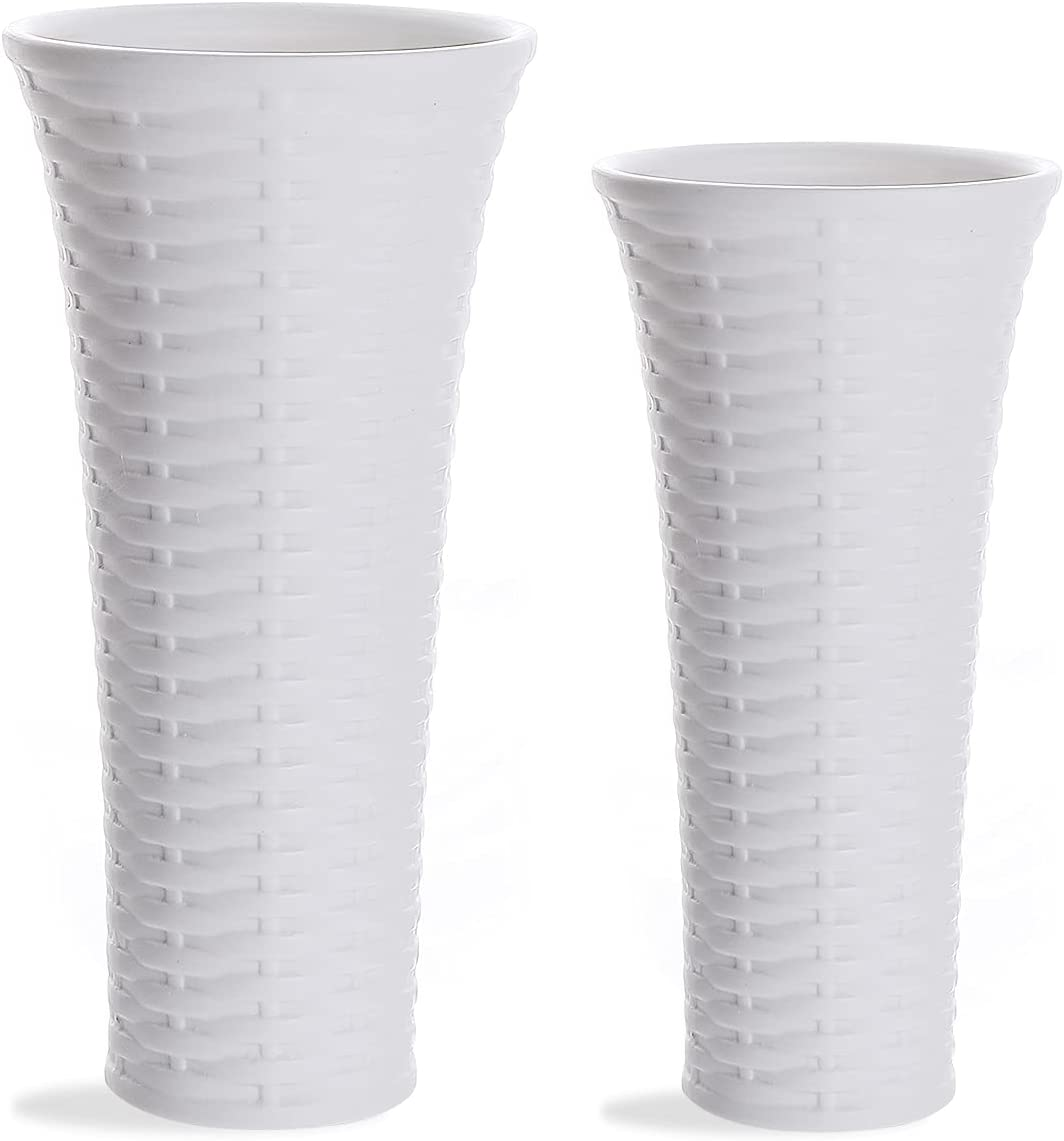 White Ceramic Vases Set of 2, Weave Texture Wide Opening Porcelain Tall Modern Flower Vase for Home Décor Office Decoration by SANFERGE
