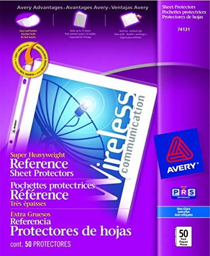 "Avery Super Heavyweight Reference Sheet Protectors (AVE74131), Holds 8.5""x11"" sheets"