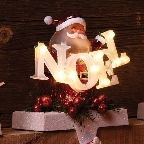 Stocking Holiday Holder (Santa Noel Confetti LED Light-up 7 inch Holiday Figurine Stocking Holder)