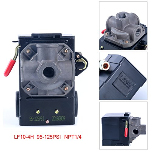 Price comparison product image Lefoo Quality Air Compressor Pressure Switch Control 95-125 PSI 4 Port w / Unloader LF10-4H-1-NPT1 / 4-95-125